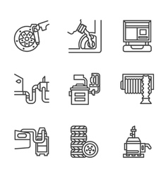 Car service center flat line icons vector