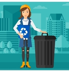 Woman with recycle bins vector