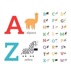 Animals alphabet icons vector