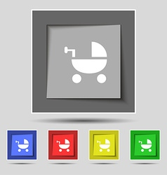 Baby stroller icon sign on original five colored vector
