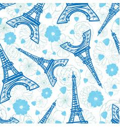 Blue eifel tower paris and flowers seamless vector
