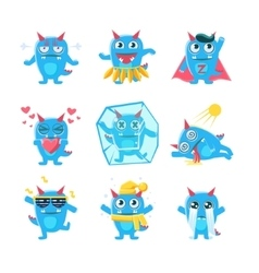 Blue monster character activities vector