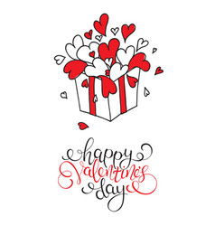 Box with hearts happy valentines day vector
