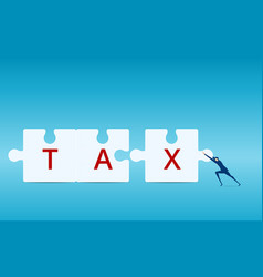 businessman pushing combine tax puzzle pieces vector image