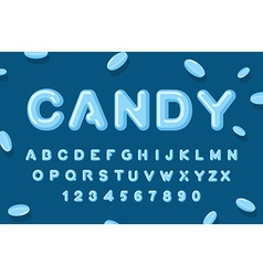 Candy font ABC of caramel Sweet alphabet Blue vector image vector image