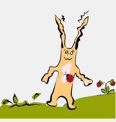 cartoon cute rabbit on grass vector image vector image