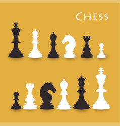 chess figures big set black and white vector image vector image