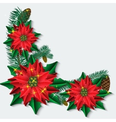 Christmas background with poinsettia flowers and vector image