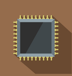 Computer microchip icon flat style vector