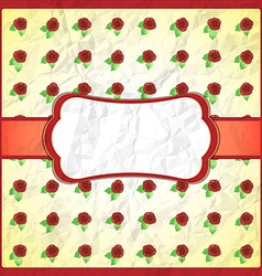 Crumpled lace frame with roses vector image