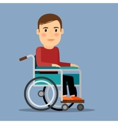 Disabled man in wheel chair vector