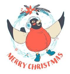 Festive funny merry christmas card with bullfinch vector