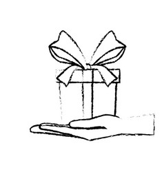Hand holding gift box with ribbon bow vector