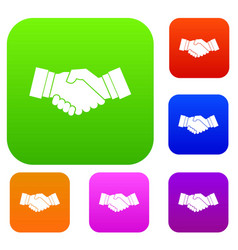 handshake set collection vector image