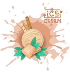 ice cream white chocolate ball dessert choose your vector image vector image