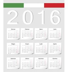 Italian 2016 calendar with shadow angles vector