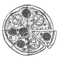 Italian pizza pizza design template hand drawn vector