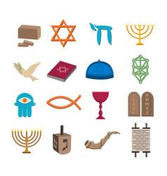 Judaism icons set vector
