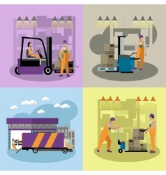 Logistic and delivery service concept banners vector image vector image
