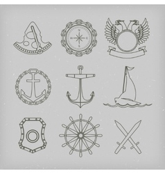 Nautical labels icons and design elements vector image vector image