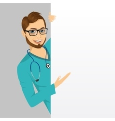 nurse doctor man with a blank presentation board vector image vector image