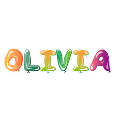 olivia female name balloons vector image vector image