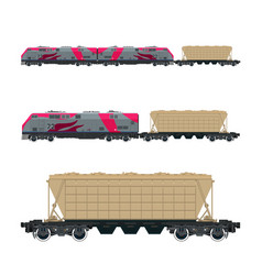 pink locomotive with hopper car on platform vector image vector image