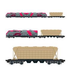 Pink locomotive with hopper car on platform vector