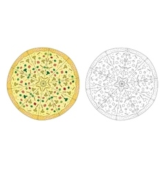 Pizza drawing color and pizza line black and vector