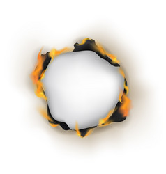 Realistic detailed 3d burn hole paper vector