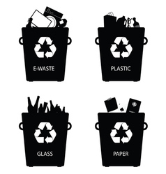 recycle trash cans sign vector image vector image