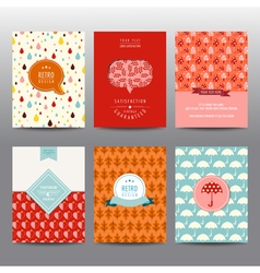 Set of autumn brochures and cards - vintage layout vector