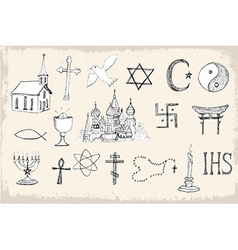 Set of trendy religion elements vector