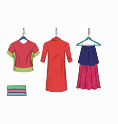 set of trendy women s things vector image vector image