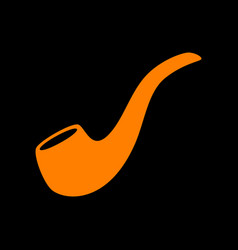 Smoke pipe sign orange icon on black background vector