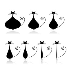 Stages of diet funny black cat for your design vector