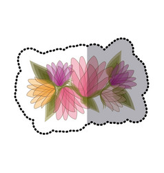 sticker blurred bouquet of bud flowers with leaves vector image vector image