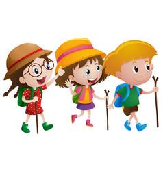 three kids with walking sticks vector image
