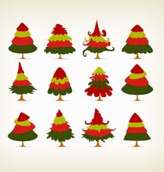 vintage christmas trees set vector image vector image