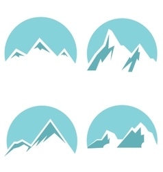 White mountain flat icons on blue background vector image