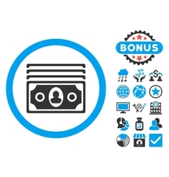 Banknotes flat icon with bonus vector