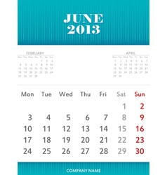 June 2013 calendar design vector image