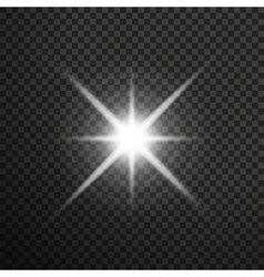 White glowing light burst with transparent vector