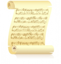 Yellow scroll with musical notation vector