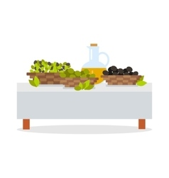 Fresh harvest of olives flat design concept vector