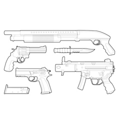 Set of outlined various weapons vector image
