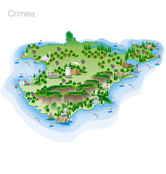 Drawing of color crimea tourist map vector