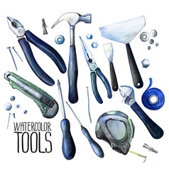 Collection of watercolor tools vector