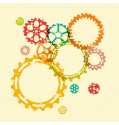 Colorful gears on bright grunge striped background vector image