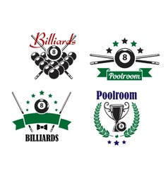 Billiards or poolroom game badges or emblems vector